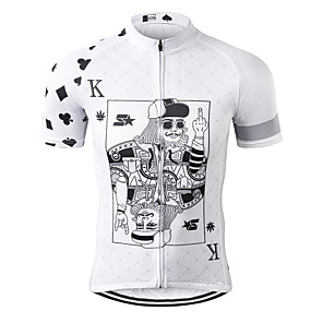 cheap Cycling Jerseys-21Grams Poker Men's Short Sleeve Cycling Jersey - Black / White Bike Jersey Top Breathable Moisture Wicking Quick Dry Sports Terylene Mountain Bike MTB Road Bike Cycling Clothing Apparel / Race Fit