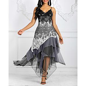 cheap Women's Sandals-Women's Strap Dress Midi Dress - Sleeveless Geometric Print Spring & Summer Elegant Homecoming Cocktail Party Lace 2020 Black Army Green S M L XL XXL XXXL XXXXL XXXXXL