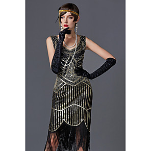 cheap Historical & Vintage Costumes-Charleston Tassel 1920s The Great Gatsby Roaring 20s Flapper Dress Women's Sequin Costume Black / Golden / Green / Black Vintage Cosplay Party Prom Sleeveless Knee Length