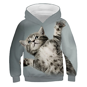 cheap Wall Stickers-Kids Girls' Active Street chic Cat Print 3D Animal Print Long Sleeve Hoodie & Sweatshirt Gray