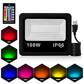 cheap LED Solar Lights-1pc 100 W LED Floodlight Outdoor Lights Waterproof Remote Controlled Dimmable RGB 85-265 V Courtyard Garden 180 LED Beads