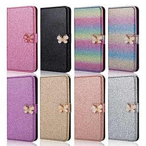 cheap Samsung Case-Case For Samsung Galaxy A51/M40S/A71 Wallet/Shockproof Butterfly Diamond Glitter PU Leather Case For Samsung S20 Plus / S20 Ultra/A20e/A50s/A30s/A10/A60/A70/A80/S10 Lite/S10 5G/S10 Plus/Note 10 Plus
