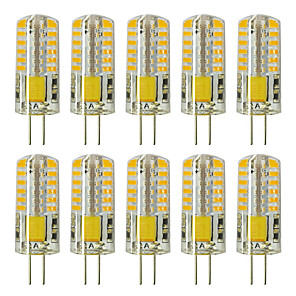 cheap LED Bi-pin Lights-10pcs G4 5W 3014 x 48 LEDs White Light Lamps AC12V Non-dimmable Equivalent to 20W-25W T3 Halogen Track Bulb Replacement LED Bulbs