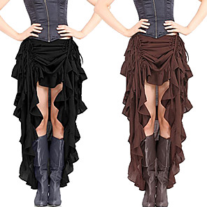 cheap Historical & Vintage Costumes-Plague Doctor Steampunk Wasp-Waisted Skirt Masquerade Women's Costume Black / Brown / Wine Vintage Cosplay Party Halloween