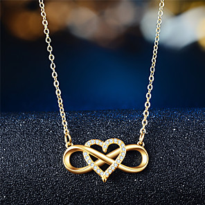 cheap Necklaces-Women's Pendant Necklace Infinity Heart Infinity Elegant Trendy Zircon Chrome Rose Gold Gold Silver 45 cm Necklace Jewelry 1pc For Gift