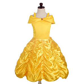 cheap Movie & TV Theme Costumes-Princess Belle Dress Cosplay Costume Masquerade Girls' Movie Cosplay A-Line Slip Cosplay Halloween Yellow Dress Halloween Carnival Masquerade Satin Cotton