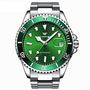 cheap Smartwatches-Men's Mechanical Watch Automatic self-winding Formal Style Modern Style Stainless Steel Silver 50 m Water Resistant / Waterproof Noctilucent Analog Luxury Fashion - Green Blue Black