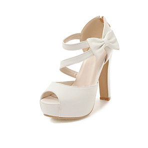 cheap Women's Heels-Women's Sandals Chunky Heel Peep Toe Bowknot Faux Leather Casual / Sweet Walking Shoes Spring &  Fall / Spring & Summer Almond / Pink / White