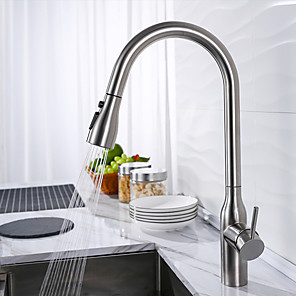 cheap Kitchen Faucets-Kitchen faucet - Single Handle One Hole Stainless Steel / Painted Finishes / Brushed Steel Pull-out / ­Pull-down / Tall / ­High Arc Centerset Contemporary Kitchen Taps