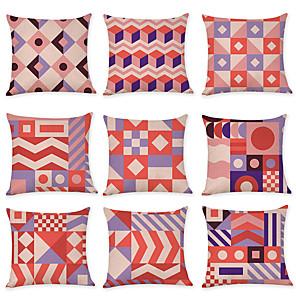 cheap Sale-9 pcs Linen Pillow Cover, Abstract Geometic Fashion Boho Throw Pillow