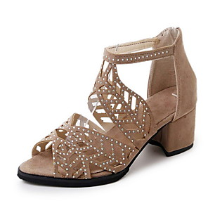 cheap Women's Sandals-Women's Sandals Glitter Crystal Sequined Jeweled Summer Chunky Heel Pointed Toe Outdoor Suede Almond / Black