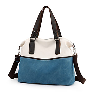 cheap Handbag & Totes-Women's Canvas Tote Color Block Wine / Black / Blue / Fall & Winter