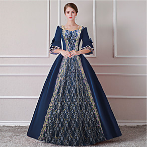 cheap Historical & Vintage Costumes-Cinderella Queen Victoria Dress Cosplay Costume Masquerade Ball Gown Adults' Women's Rococo Victorian Medieval Renaissance Party Prom Christmas Halloween Carnival Festival / Holiday Satin Cyan Women's