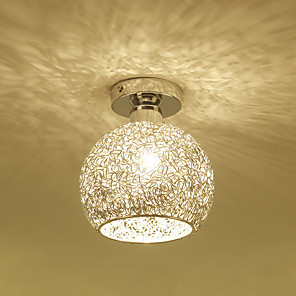 cheap Ceiling Lights-1-Light Aluminum Ceiling Lamp Globe Flush Mount Ceiling Lights Ambient Light Electroplated Metal Ceiling Light for Porch Corridor