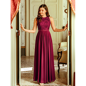 cheap Bridesmaid Dresses-A-Line Empire Red Wedding Guest Prom Dress Jewel Neck Sleeveless Floor Length Chiffon Lace with Pleats Lace Insert 2020