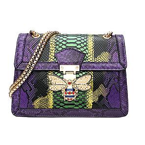 cheap Men's Bags-Women's Buttons / Chain PU Crossbody Bag Animal Purple / Blue