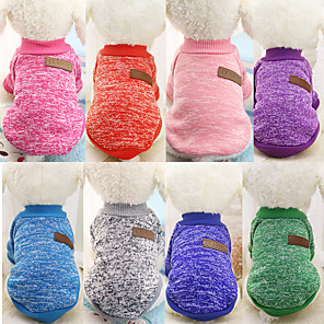 cheap Dog Clothes-Dog Sweater Jumpsuit Solid Colored Classic Fashion Winter Dog Clothes Warm Navy Purple Red Costume Down Cotton XS S M L XL XXL