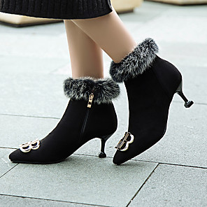 cheap Women's Boots-Women's Boots Snow Boots Stiletto Heel Pointed Toe Suede Booties / Ankle Boots Classic Spring &  Fall / Fall & Winter Black / Party & Evening