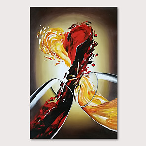 cheap Abstract Paintings-Oil Painting Hand Painted - Abstract Still Life Modern Rolled Canvas