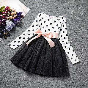 tanie Zestawy ubrań dla dziewczynek-Dzieci Dla dziewczynek Groszki Siateczka Długi rękaw Maxi Sukienka Biały