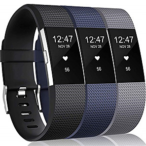 cheap Smartwatch Bands-3pcs Large Watch Band for Fitbit Charge 2 Fitbit Sport Band Silicone Wrist Strap