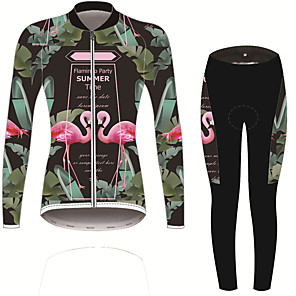 cheap Cycling Jersey & Shorts / Pants Sets-21Grams Flamingo Floral Botanical Women's Long Sleeve Cycling Jersey with Tights - Forest Green Bike Clothing Suit UV Resistant Breathable Quick Dry Sports Winter Fleece Spandex Mountain Bike MTB