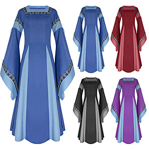 cheap Historical & Vintage Costumes-Cosplay Medieval Renaissance Dress Party Costume Costume Women's Costume Black / Purple / Red Vintage Cosplay Long Sleeve