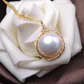 cheap Necklaces-Women's Freshwater Pearl Pendant Necklace Twisted Baroque Pearl Gold Plated Gold 45 cm Necklace Jewelry 1pc For Gift Daily Holiday Promise Festival
