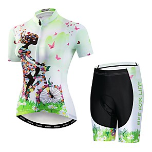 cheap Cycling Jersey & Shorts / Pants Sets-21Grams Floral Botanical Women's Short Sleeve Cycling Jersey with Shorts - Blue Purple Yellow Bike Clothing Suit Breathable Quick Dry Moisture Wicking Sports Elastane Terylene Mountain Bike MTB Road
