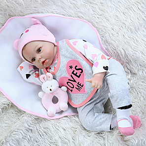 cheap Reborn Doll-NPK DOLL 22 inch Reborn Doll Girl Doll Baby Girl Reborn Baby Doll lifelike Cute Hand Made Child Safe Non Toxic Cloth 3/4 Silicone Limbs and Cotton Filled Body 55cm with Clothes and Accessories for