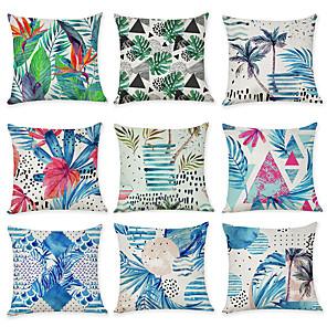 cheap Pillow Covers-9 pcs Linen Pillow Cover, Floral Floral Print Rustic Fashion Throw Pillow
