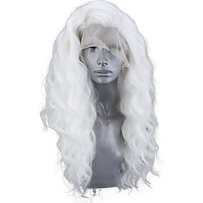 cheap Synthetic Lace Wigs-Synthetic Lace Front Wig Wavy Body Wave Free Part Lace Front Wig Long White Synthetic Hair 8-12 inch Women's Soft Elastic Women White / Glueless