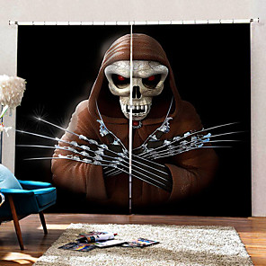 cheap Faucet Accessories-Wholesale Human Skeleton 3D Digital Printing Hallowmas Theme Window Curtain Luxury Party Curtains Home Decor Blackout 100% Polyester Curtain Fabric