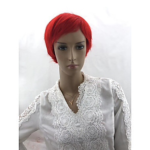 cheap Human Hair Capless Wigs-Human Hair Wig Short Curly Body Wave Bob Asymmetrical Short Bob Red Simple Classic Women Capless Burmese Hair All Unisex Auburn