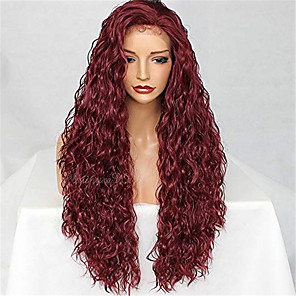 cheap Human Hair Wigs-Remy Human Hair Lace Front Wig style Brazilian Hair Water Wave Burgundy Wig 130% Density Women's Medium Length Human Hair Lace Wig beikashang