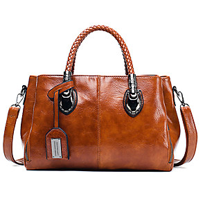 cheap Handbag & Totes-Women's Leather Tote Solid Color Wine / Black / Blue / Fall & Winter