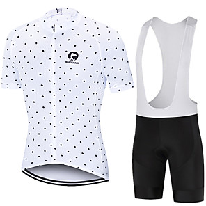 cheap Cycling Jersey & Shorts / Pants Sets-MAKOSHARK Polka Dot Men's Short Sleeve Cycling Jersey with Bib Shorts - Black White Bike Clothing Suit Breathable Moisture Wicking Quick Dry Sports Polyster Lycra Mountain Bike MTB Road Bike Cycling