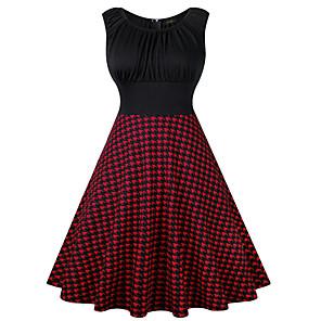 cheap Historical & Vintage Costumes-Vintage Inspired Dress Women's Spandex Costume Black / Wine Vintage Cosplay 3/4-Length Sleeve
