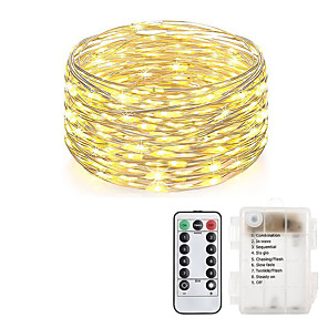 cheap LED String Lights-LOENDE Fairy Lights 10M 100 LED Battery Operated with Remote Control Timer Waterproof Copper Wire Twinkle String Lights for Bedroom Indoor Outdoor Wedding Dorm Decor
