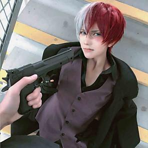 cheap Anime Costumes-My Hero Academia / Boku No Hero Todoroki Shoto Cosplay Wigs Boys' Girls' 14 inch Heat Resistant Fiber Green Red Anime