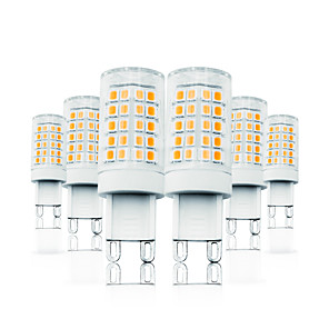 cheap LED Bi-pin Lights-6 Pack 6W Dimming LED Corn Lights 110-130V 200-240V 700LM G9 64LEDs LED Lamp SMD2835 White/Warm White