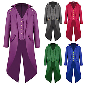 cheap Historical & Vintage Costumes-Plague Doctor Vintage Gothic Medieval Steampunk 18th Century Tuxedo Tailcoat Frock Coat Men's Cotton Costume Red black / Purple / Red Vintage Cosplay Long Sleeve