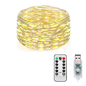 cheap LED Strip Lights-Fairy Lights Plug in 8 Modes 10M 100 LED USB String Lights with Adapter Remote Timer Waterproof Decorative Lights for Bedroom Patio Christmas Wedding Party Dorm Indoor Outdoor