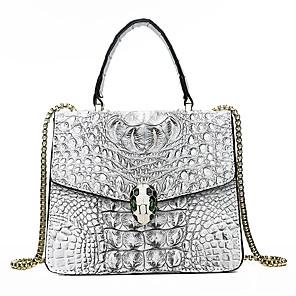 cheap Handbag & Totes-Women's Embossed PU Top Handle Bag Crocodile Black / White / Purple