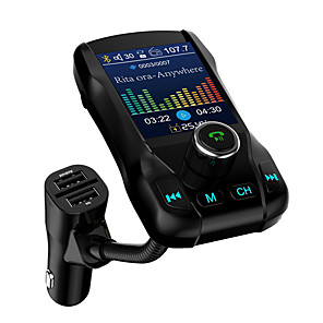 cheap Bluetooth Car Kit/Hands-free-1.77 Color Screen FM Transmitter Wireless Bluetooth Handsfree Car Kit 360 Rotatable Car MP3