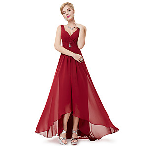 cheap Evening Dresses-A-Line Empire Red Holiday Wedding Guest Dress V Neck Sleeveless Asymmetrical Polyester with Crystals Draping 2020