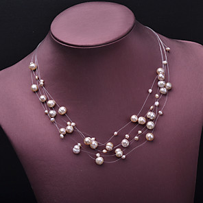 cheap Necklaces-Women's Beaded Necklace Necklace Star Gypsophila European Romantic Fashion Cute Pearl Gold Plated Gold 50 cm Necklace Jewelry 1pc For Christmas Gift Holiday Promise Festival