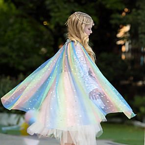 cheap Movie & TV Theme Costumes-Elsa Unicorn Cosplay Costume Cloak Masquerade Girls' Movie Cosplay A-Line Slip Cosplay Halloween Blue Cloak Halloween Carnival Masquerade Tulle Polyster