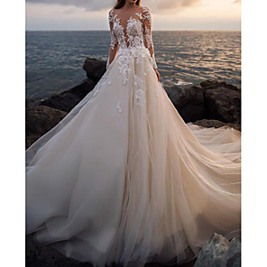 cheap Wedding Shoes-A-Line Wedding Dresses Bateau Neck Court Train Lace Tulle Long Sleeve Formal See-Through Illusion Sleeve with Buttons Appliques 2020