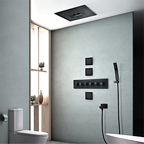 cheap Dimmable Ceiling Lights-Shower Set Set - Handshower Included LED Waterfall Contemporary Painted Finishes Wall Installation Ceramic Valve Bath Shower Mixer Taps